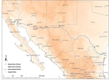 U.S. - Mexico Border Ports of Entry.