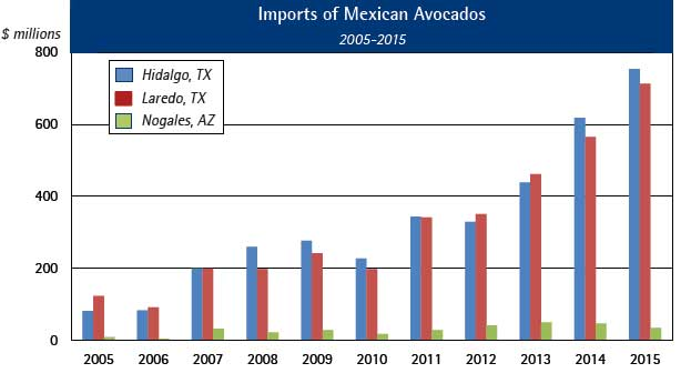 Imports of Mexican Avocados Through Top Three Ports, 2005-2015