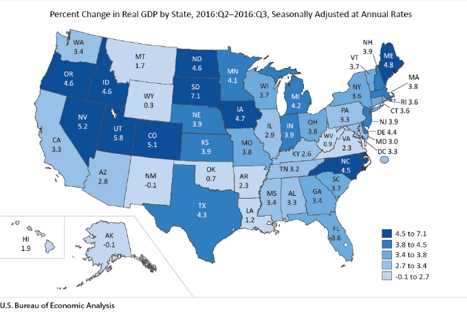 real gross domestic product by state 2016 third quarter