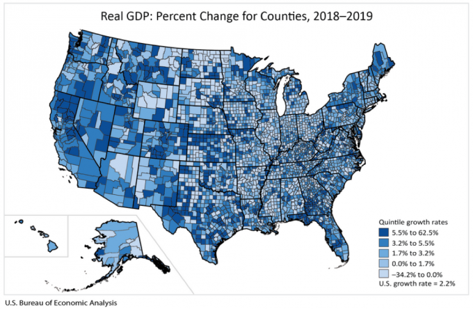 The increase in real GDP by County in 2019 for Arizona ranged from 8.1 percent in Graham County to -3.5 percent in both Coconino and Apache counties.